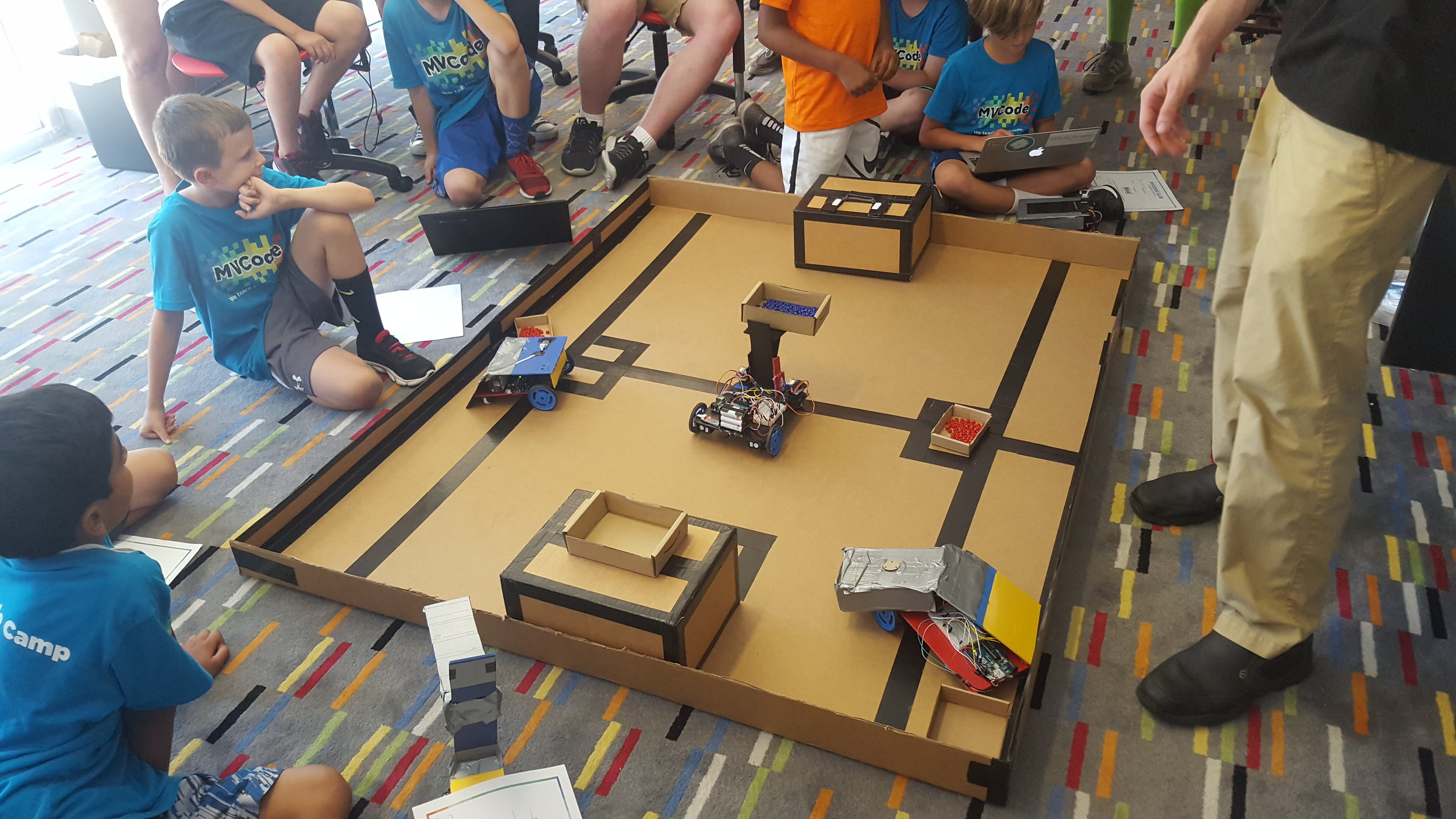 Learn How Advanced Robotics Will Change The Future - Build & Code your own Arduino RobotThis summer MVCode is offering a robotics camp for 2nd-8th graders. Campers will either make a robotic car or pet robot. Kick your engineering skills up a few notches! Campers who have successfully completed our Construction Bot Bead Challenge can advance their skills by building robots that combine maze-solving and line-following skills on our high-speed pathfinder relay race. You can also build your own custom remote controller of your dreams from scratch.