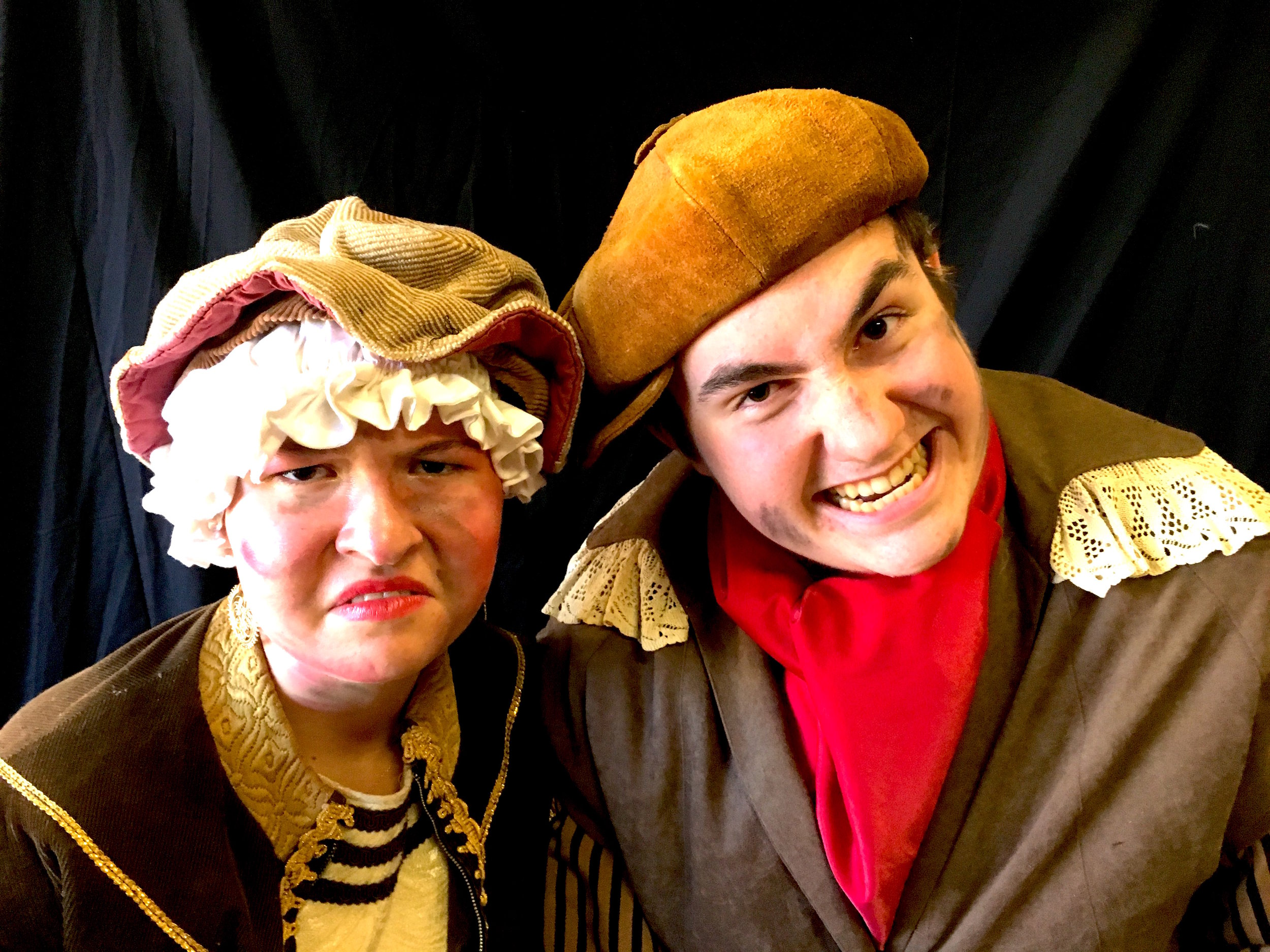 Vivian Marino as Madame Thenardier, Matthew Peterson as Thenardier.