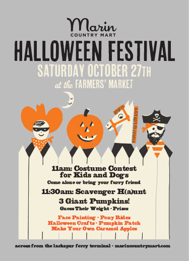 Trick or Treat - Calling all ghouls and goblins! Head out for trick or treating at the Marin County Mart on October 31st. All the shops will be open with trick-or-treating goodies! Halloween fun for everyone!
