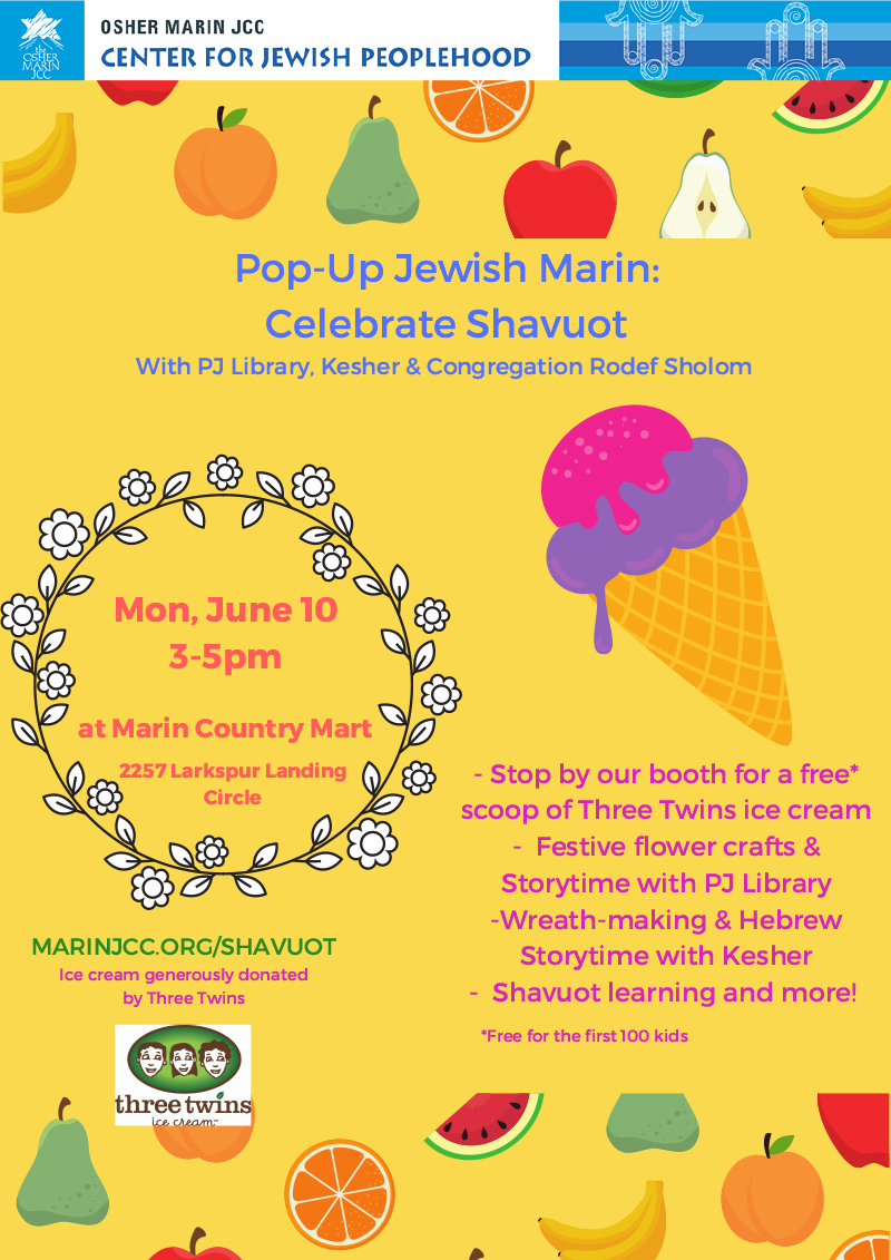 Celebrate Shavuot - June 10, 3-5pmBringing joy, sweetness and happiness to all that stop by with Three Twins Ice Cream, festival flower crafts, storytime, wreath-making and more.