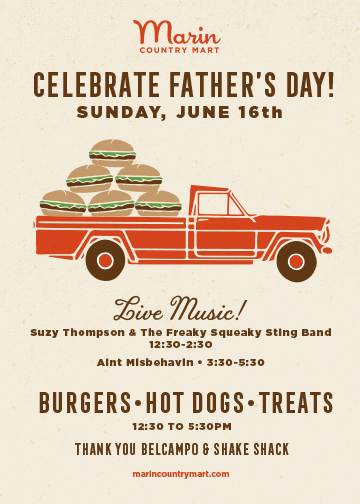 FATHER'S DAY - June 16, 12:30-2:30pmJoin us for some rocking' and smoking' live music, burgers, hotdogs, treats and more surprises.Fathers Day Brunch at Union MadeBelcampo and Shake Shack Sunday BBQ in the courtyard