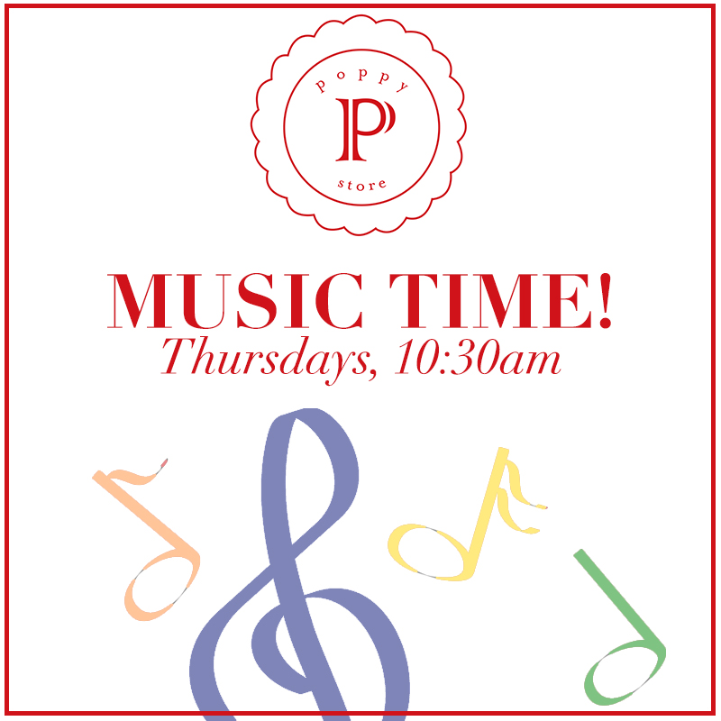 Music Time! - Every Thursday at 10:30amJoin us for Music Time at Poppy featuring Megan Schoenbohm! Every Thursday at 10:30am.