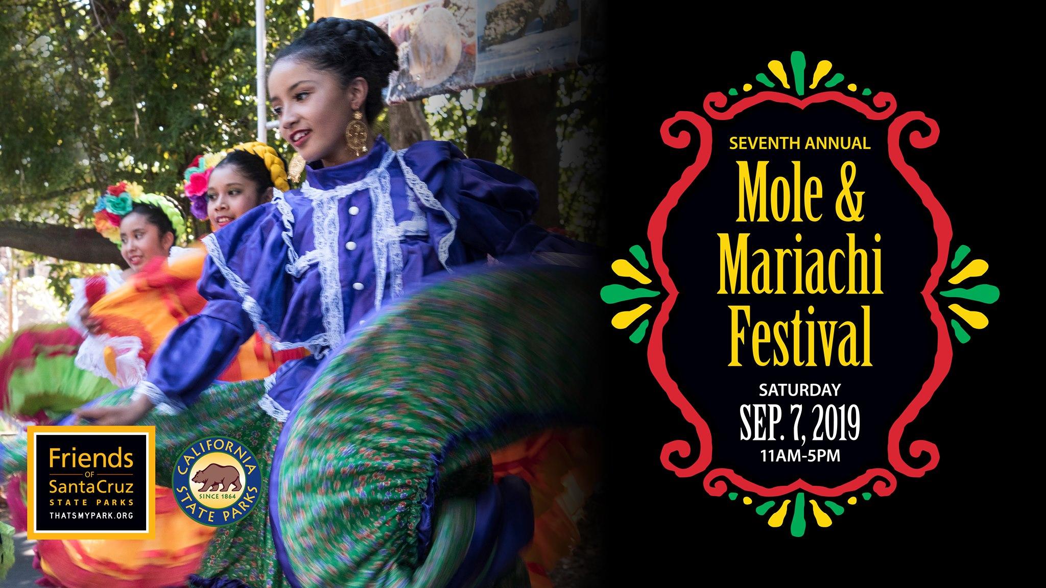 Mole & Mariachi Festival - September 7Santa Cruz State Historic MissionMole & Mariachi Festival has food, beer, wine, craft vendors, giant piñatas, and dancers. Free admission.
