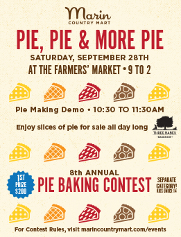 Saturday at the Farmer's Market - it's all about Pie! 🥧 - Saturday, September 28thJoin us for our Pie Baking Contest, Pie Baking Demo, and Three Babe Bakeshop slices for sale all day long.10am - Turn in Pies to the Big Tent!10:30am - Pie Baking Demo11-1 - Judging1pm - Winners announced!$200 cash prize for adult winners; gift certificates for kids & fan favorite winners.