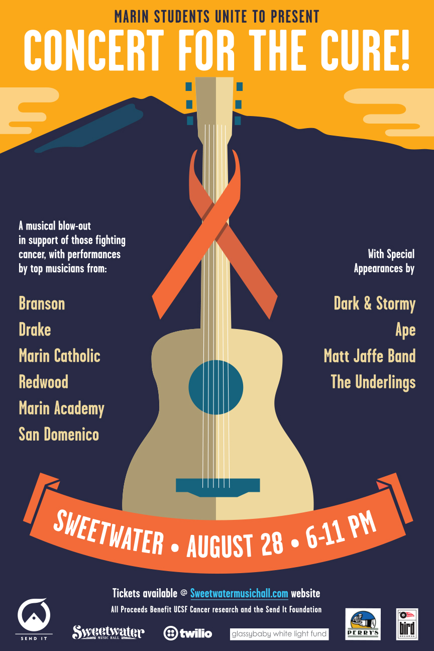 - A musical blow-out in support of those fighting cancer, with performances by top musicians from Branson, Drake, Marin Catholic, Redwood, Marin Academy and San Domenico. Featuring Dark & Stormy, Ape, Matt Jaffe and the Underlings & more!