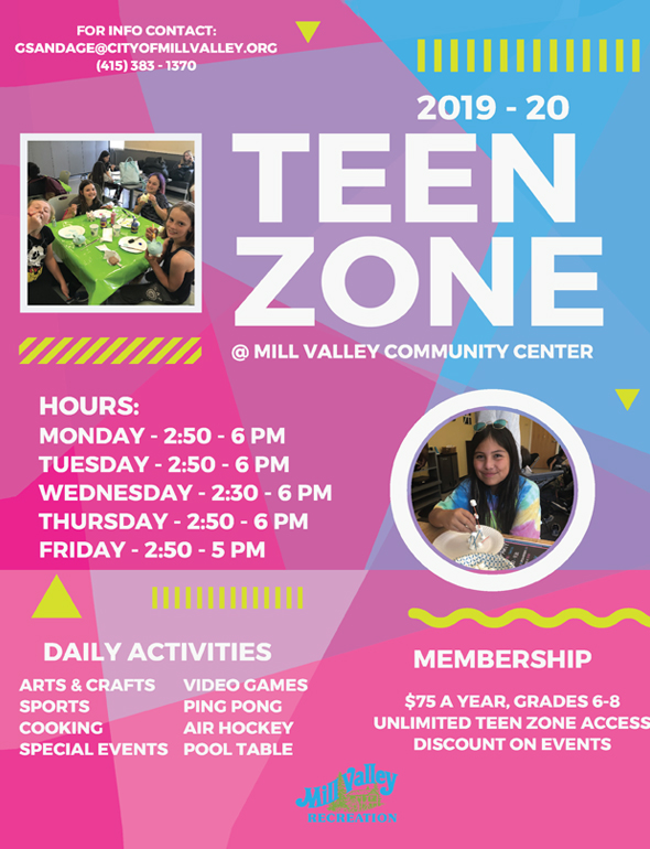 TEEN ZONE - The Teen Program utilizes the Teen Zone, Community Center and Aquatics and Fitness facilities and surrounding fields to provide middle school-aged students with leisure activities after school. Classes, trips and special events are also offered in the evenings, weekends and school holidays to provide a well-rounded program. During the summer, teen summer adventure camps are offered to provide youth with the opportunity to have some fun and explore all the Bay Area has to offer.