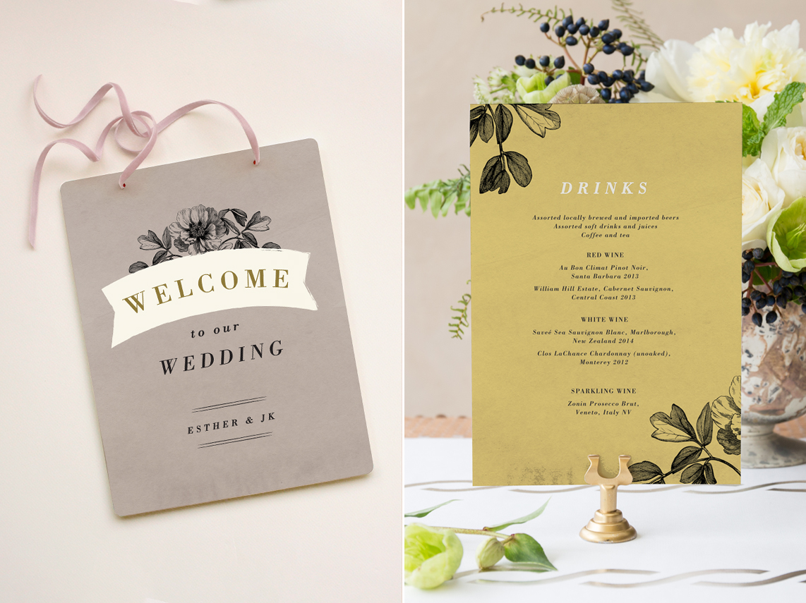 Wedding signage and menu design