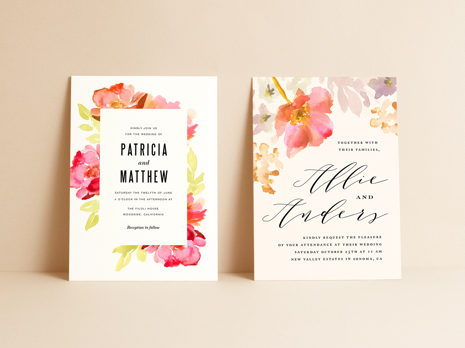 Wedding invitation design and illustration for Minted.com