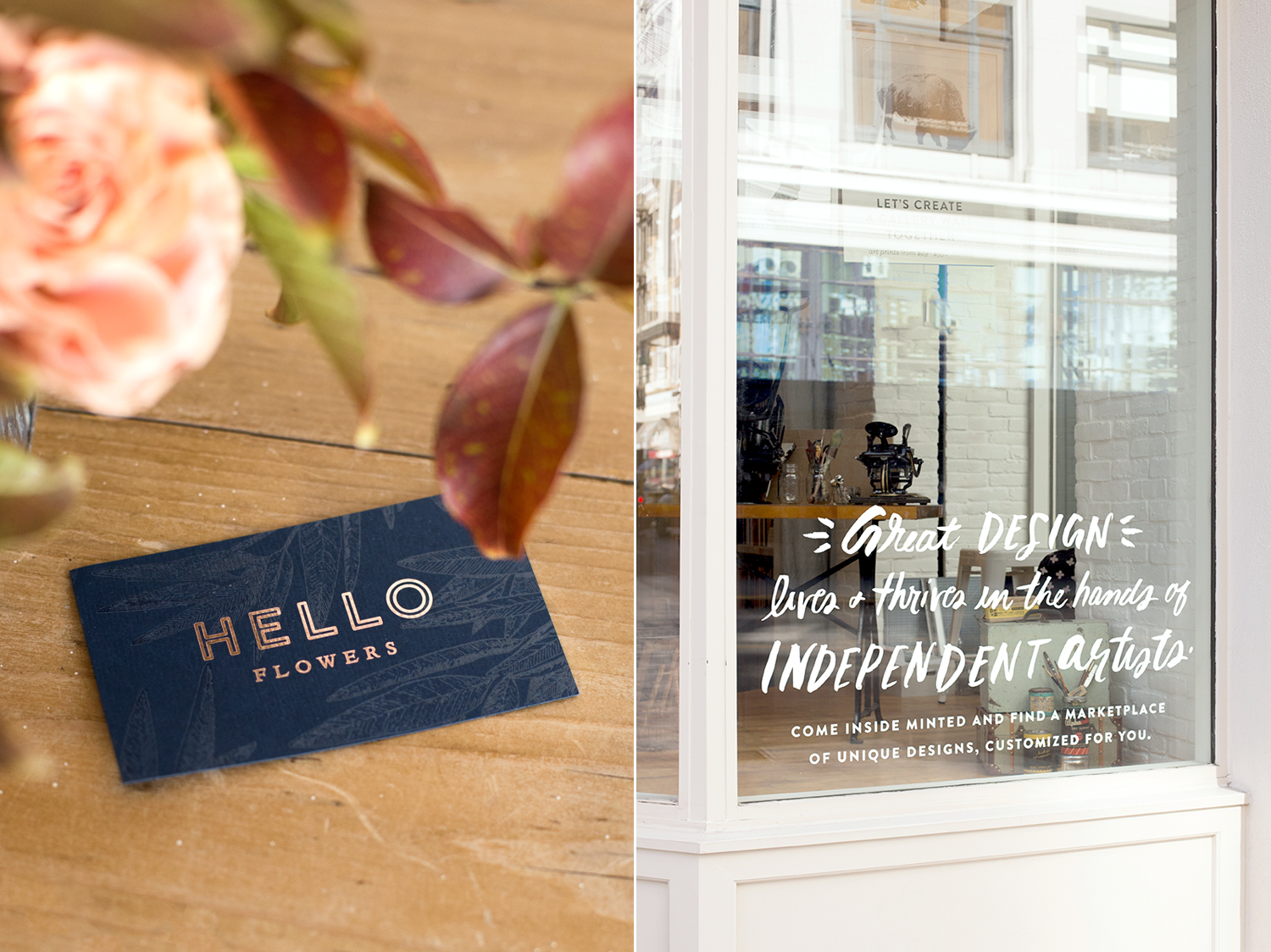 left: Logo and card design for Hello Flowers right: Hand-lettered decal for Minted retail store