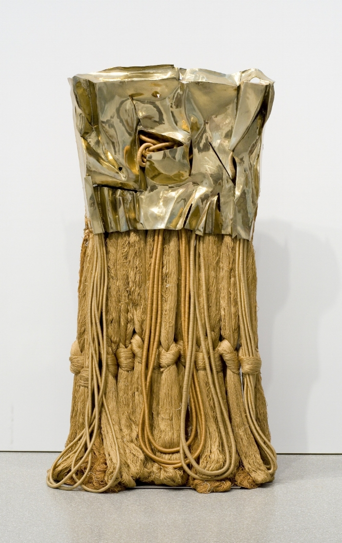 "Barbara Chase-Riboud, ""Little Gold Flag,"" 2007, polished bronze and silk 70 1/4 x 35 1/4 x 21 3/4 / Michael Rosenfeld Gallery LLC, New York, NY"