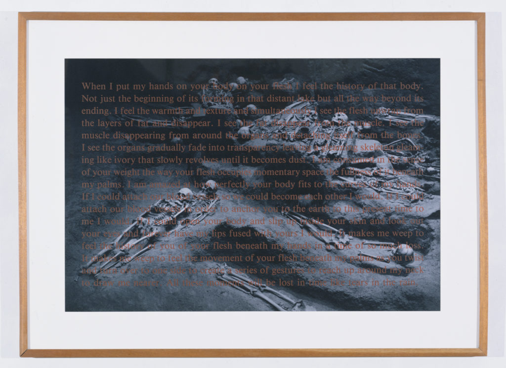 David Wojnarowicz,  When I Put My Hands on Your Body , 1990, silver print with silkscreened text, 34 x 46 inches