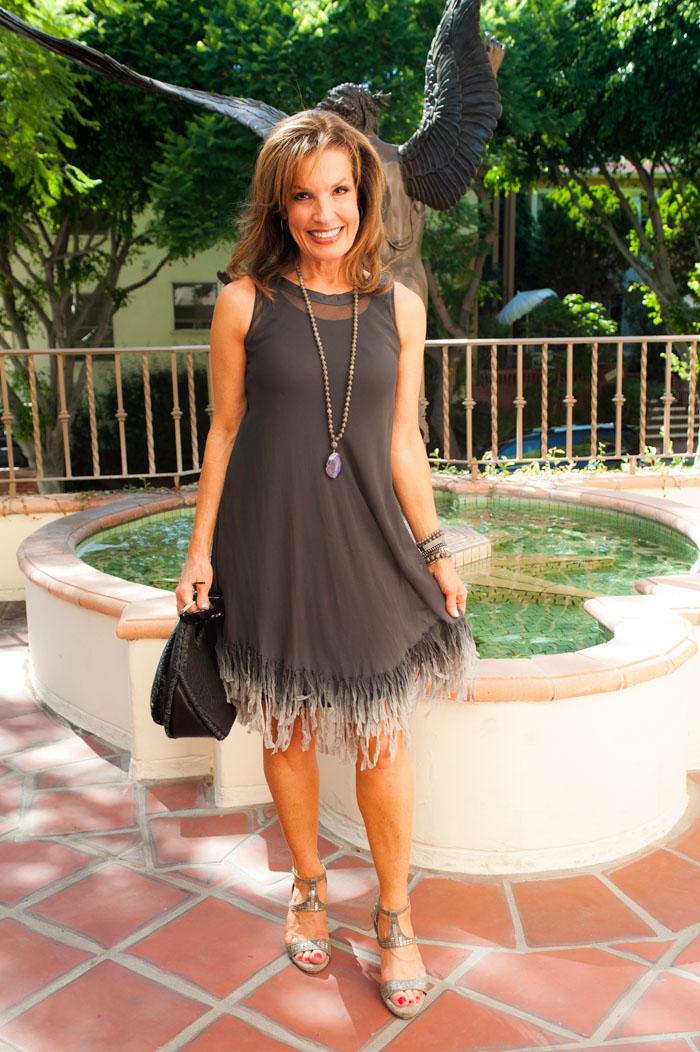 Viviana Uchitel Dress available at  BOCA ,  Robin Terman  Necklace and Bracelets, Old Hippie Handbag,  Calleen Cordero Heels .
