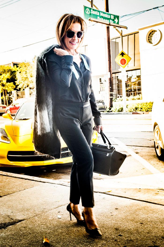 VENIA Coat and Blouse. Theory Pants. Jimmy Choo Heels. Céline Handbag. Oliver Peoples Shades.