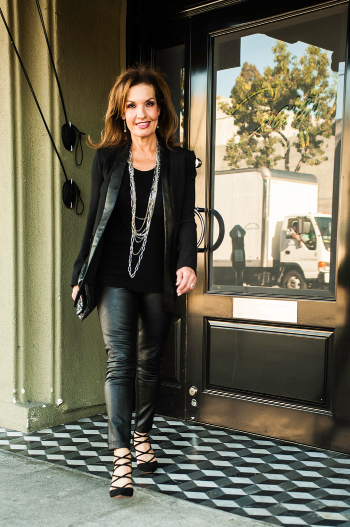 VENIA Jacket and T-Shirt. CAbi Faux Leather Leggings. Aquazzura Shoes. Gemma Redux Necklace. Zadig and Voltaire Clutch. Irit Design Earrings.