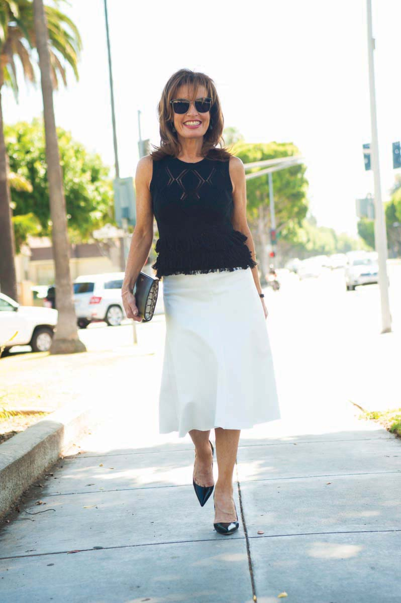 Worth New York Top, Manolo Blahnik Heels, Balenciaga Clutch, Nicholas Skirt.