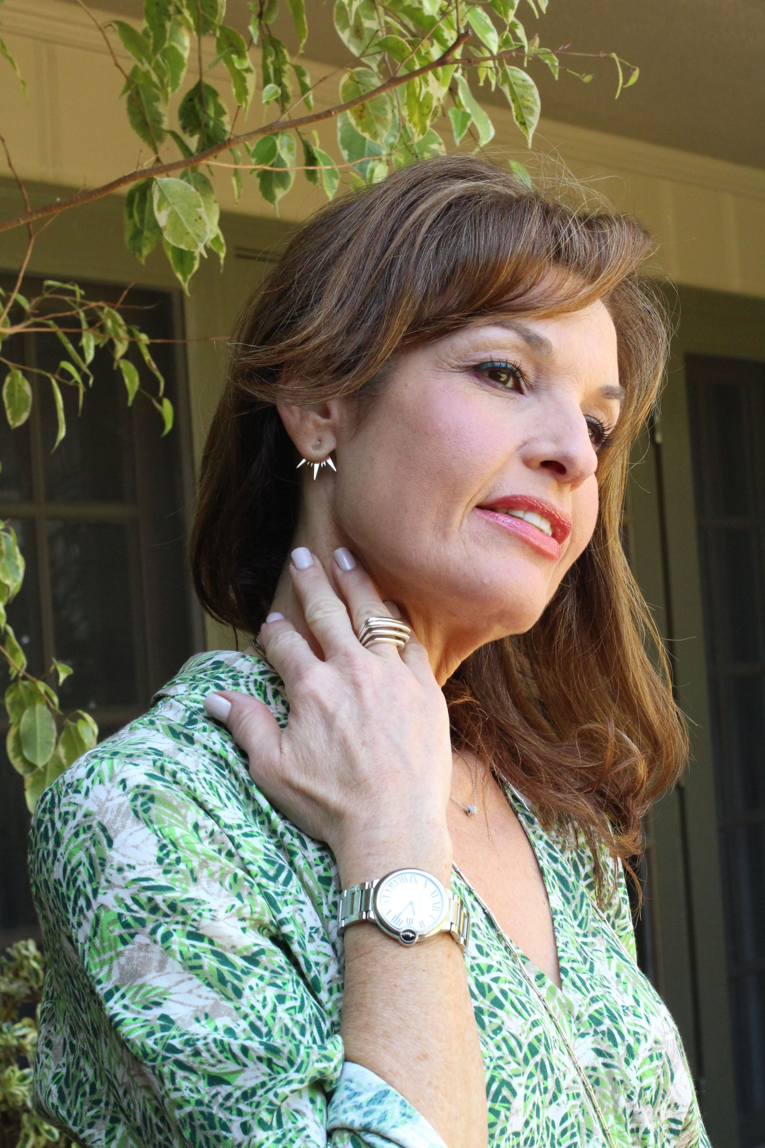 Julie Starr Dresner  Ear Jacket,  Robin Terman Necklace, all available at  BOCA .  Zina  Ring,  Cartier Watch.