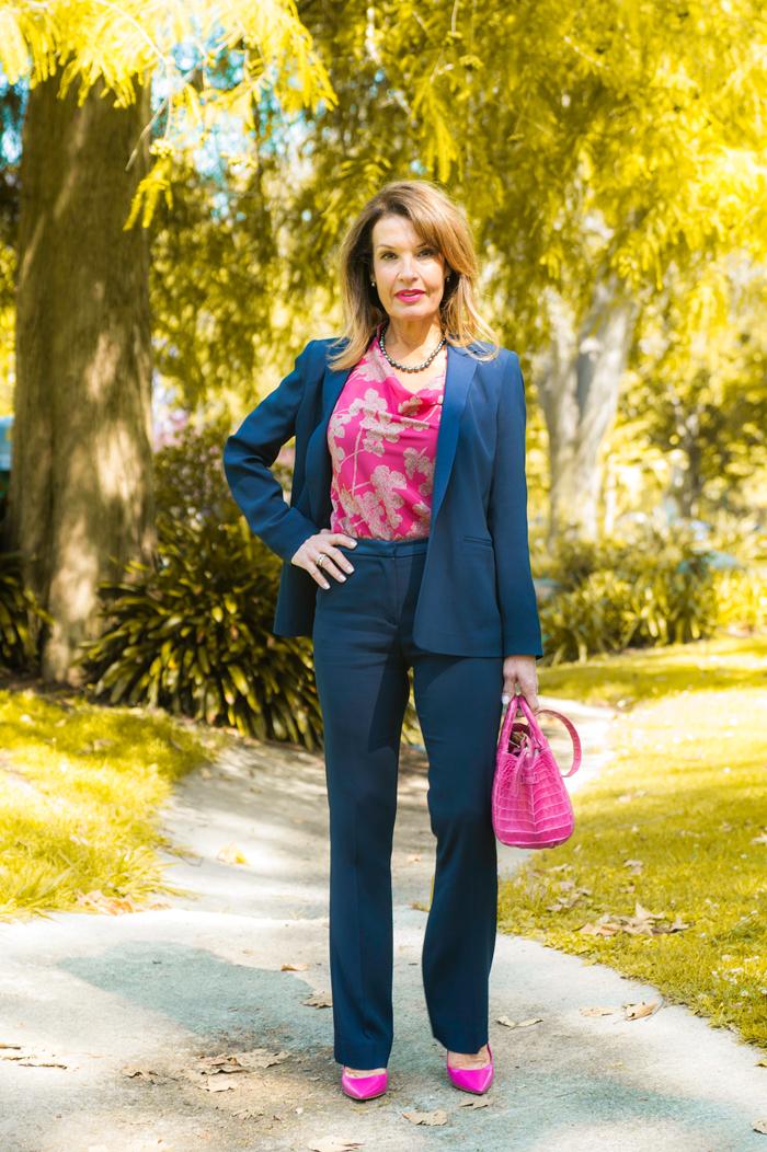 Sandro Pant Suit ( Jacket ,  Pants ), Worth New York Blouse, Christian Dior Heels, similar  here , Nancy Gonzalez Handbag, similar  here , Oliver Peoples Sunglasses, Calypso St. Barth Bracelets.