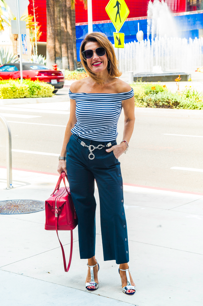 Top, Belt and Culottes by  Worth New York , Rupert Sanderson Wedge, on sale  here , Myriam Schaefer Handbag, Oliver Peoples Sunglasses, John Hardy Bracelet and Hoops, also seen  here .