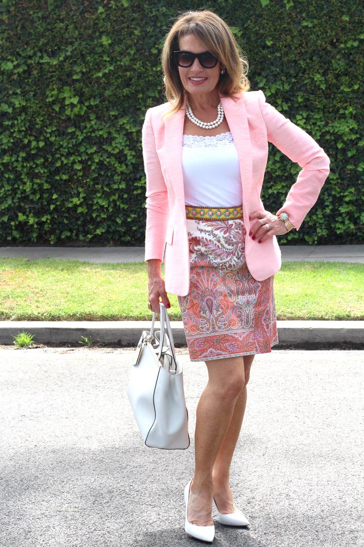Stella McCartney Blazer, Tease by Tina Camisole, Mantu Belt, Worth New York Skirt, Fendi Pumps and Hangbag, Celine Sunglasses, Christian Dior Tribal Earrings,