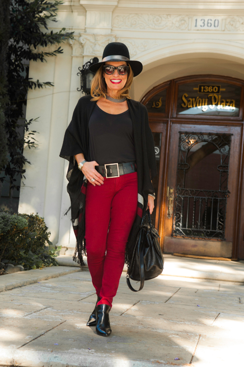Ulla Johnson Wrap , Scoop NYC T-Shirt, Sarah Pacini Belt and (silver) Bracelets and Necklace, Hudson Jeans, similar  here , Sandro Booties, on sale  here , Balenciaga backpack, similar for less  here , Calypso St. Barth Hat, Lisa Hoffman black beaded bracelet, Celine sunglasses.