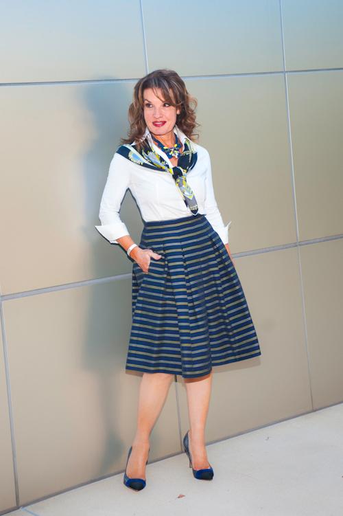 Worth new york  Skirt , Lareida Blouse, Ferragamo Scarf, Nicholas Kirkwood Pumps, Balenciaga Handbag, Think Closet Choker.