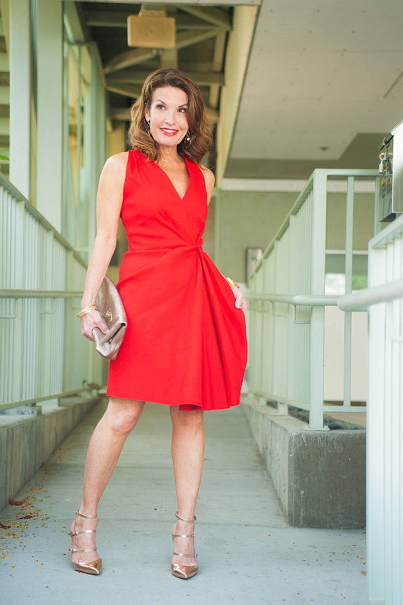 Lanvin Red Dress, Gianvitto Rossi Heels, Mulberry Clutch, St. Johns Bracelet,  The Jewelry Bar Bangles .