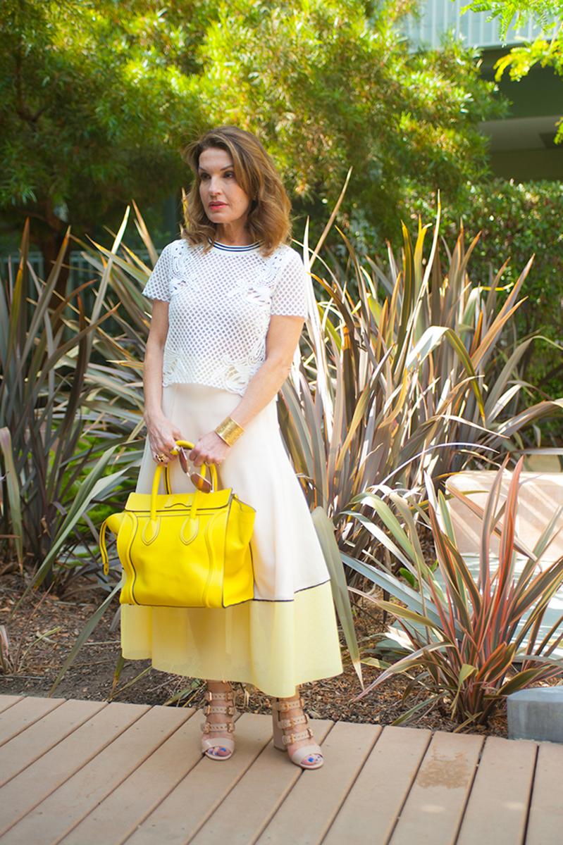 Maje Skirt and Top, Laurence Decade Sandals, Oliver Peoples Shades, Celine Handbag, Vintage YSL Cuff,
