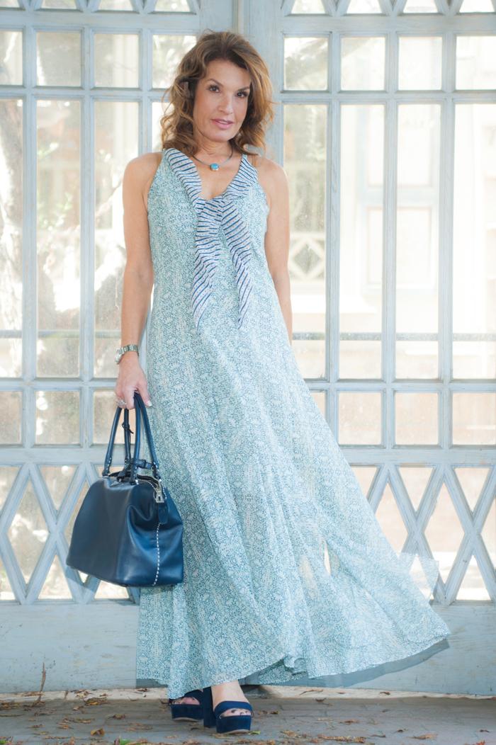 Cabi Maxi Dress , Gianvito Rossi Sandals, Prada Handbag, Jewelry Bar Necklace,  Chanel Sunglasses .