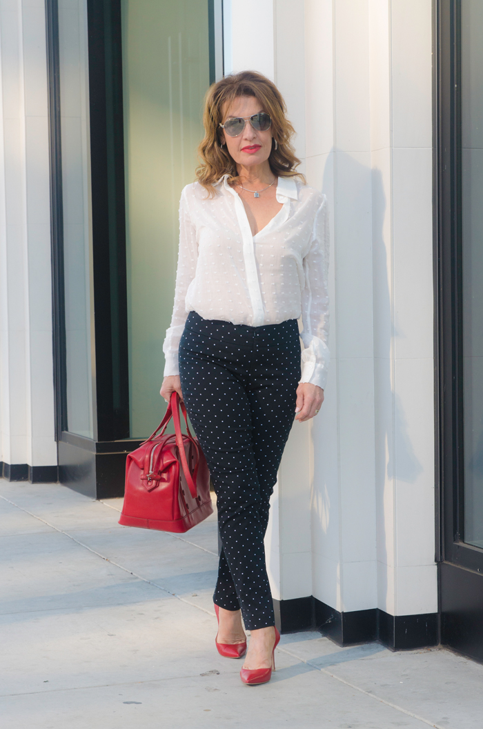 Worth New York Blouse and Trousers, Gianvito Rossi Heels, Myriam Schaefer Bag, also seen  here , and with navy  here  and  here .