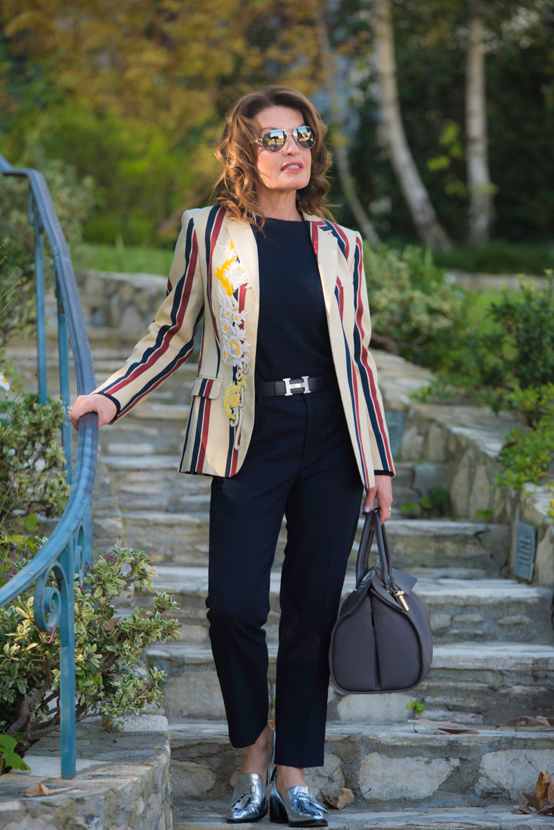Dries Van Noten Blazer (also seen    here   ),    Whistles sweater   , Hermes Belt, Oak and Fort wool trousers (   similar here   ),    Rebecca Minkoff Loafers   , Chanel sunglasses, Balenciaga handbag (similar for less    here   ).
