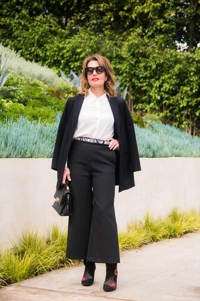 Maje    Jacket   ,    Blouse    and    Pants   , Cabi belt,    Laurence Dacade Boots   , Balenciaga Bag    (similar for less here   )   Celine Sunglasses