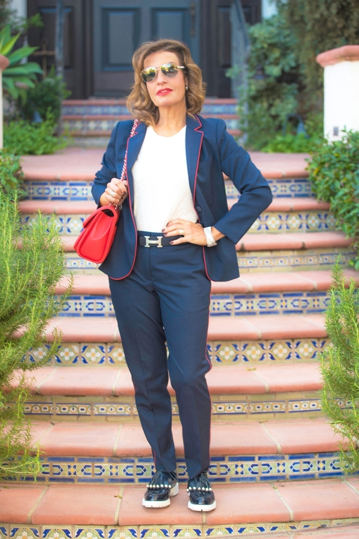 Sandro    pants    and   jacket   ,    Rag and Bone t-shirt   ,    Robert Clergerie shoes   , , Hermes belt, Chanel handbag, cuff and sunglasses, Christian Dior earrings