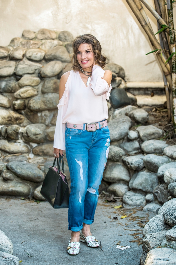 Aqua Blouse (   similar here   ),    7 For All Mankind Jeans   ,    Fendi Handbag   ,    Gucci Shoes   ,    Robin Terman necklace
