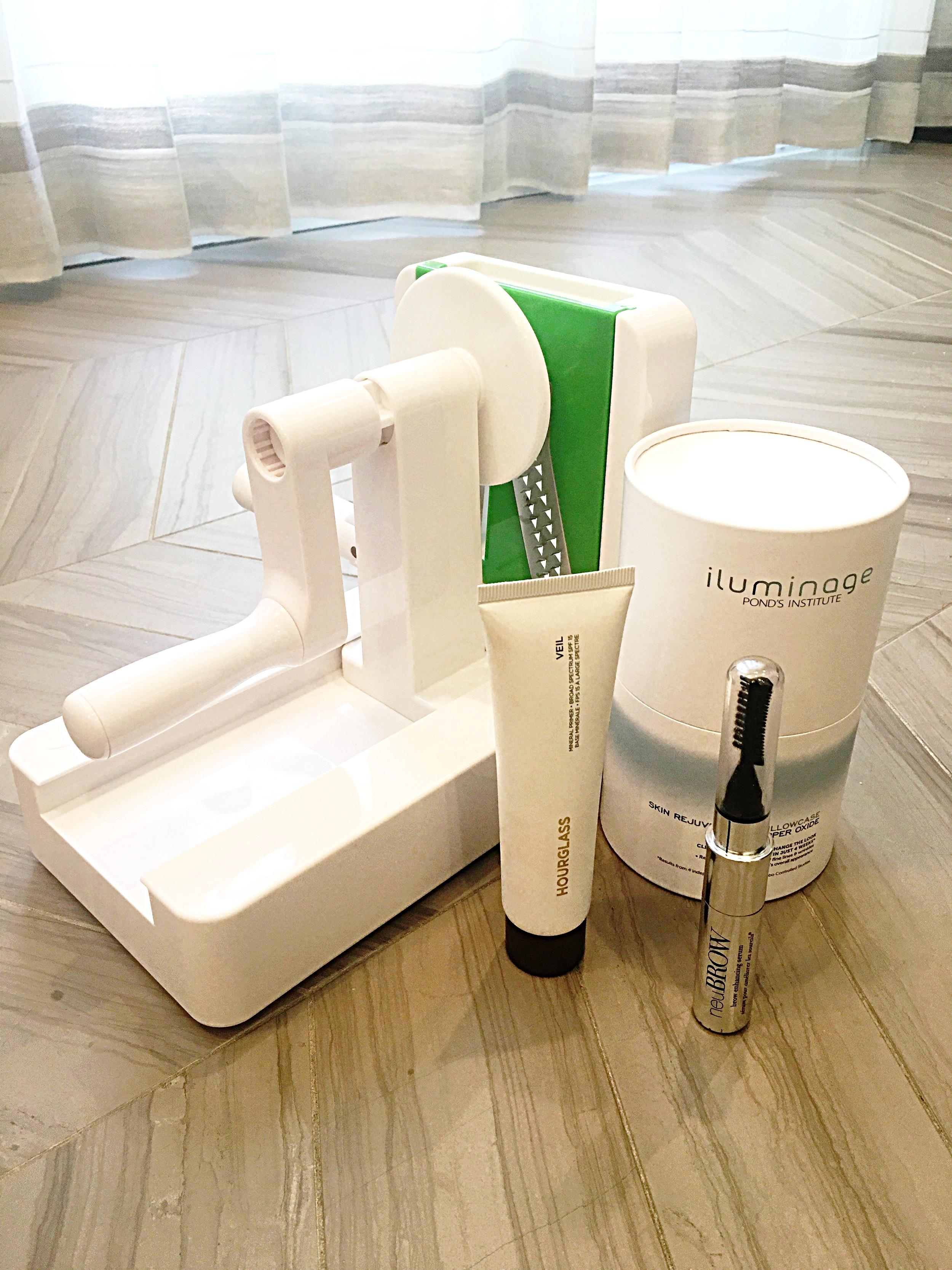 The Spiralizer ,  Illuminage pillow case ,  Neubrow eyebrow enhancer    and    Hourglass Veil primer