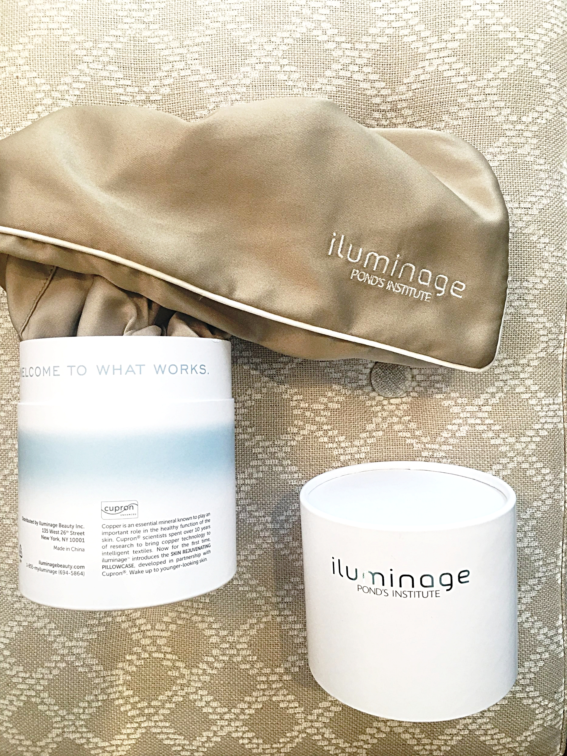 I received the    Illuminage pillow case    as a hostess gift and I love it! Loaded with lots of copper oxide, it is proven to diminish the appearance of fine lines and wrinkles in up to 4 weeks. I love the way it feels against my skin and hair. It was one of the best gifts I ever received!