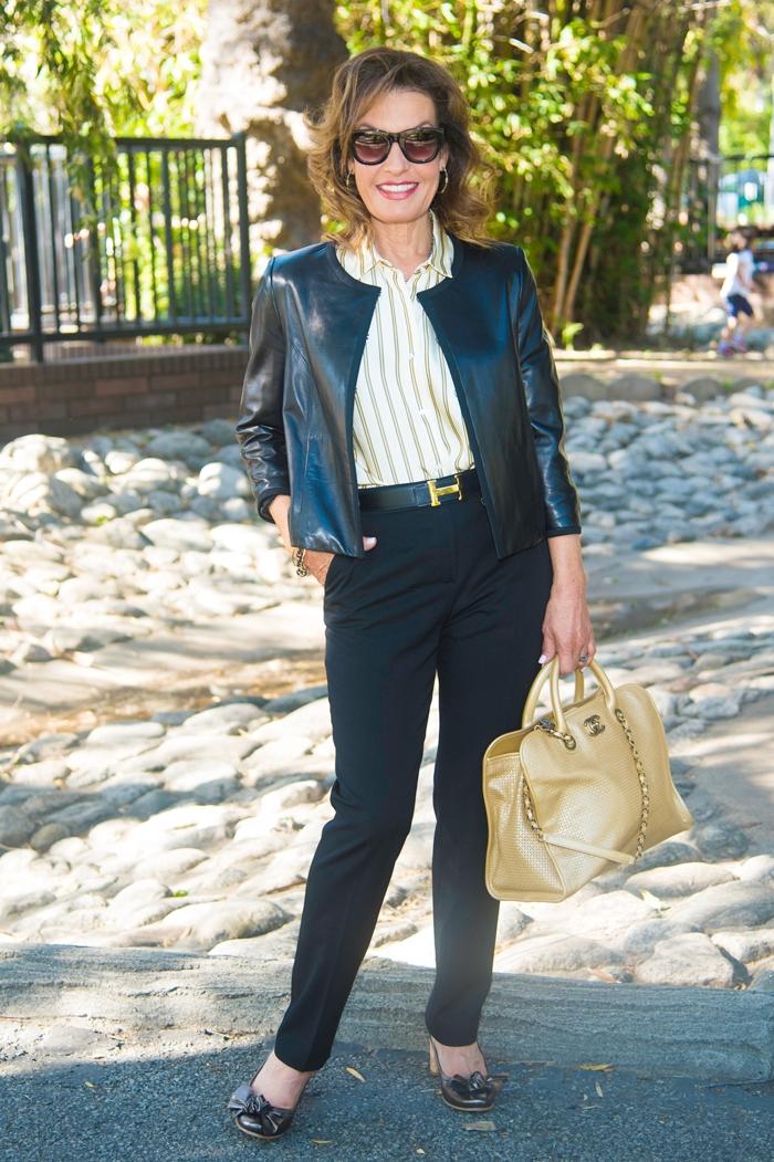Jason Wu leather jacket,    similar here   , Sandro blouse,  similar here  , Lanvin pants,   Ashneil belt   , Chanel handbag,    Ferca 81 shoes similar here   ,    The Jewelry Bar earrings and necklace   .