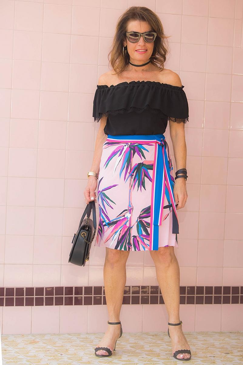 Michael Kors top  ,    similar here   , Pucci skirt    similar here   , Chanel bag, Chloe sandals, Celine sunglasses, Robin Terman chokers.