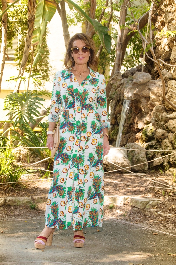 Maje dress on sale here   ,    Gianvito Rossi sandals on sale here   ,    Lanvin clutch similar here   ,    Robin Terman earrings and bracele  t , Oliver Peoples shades.