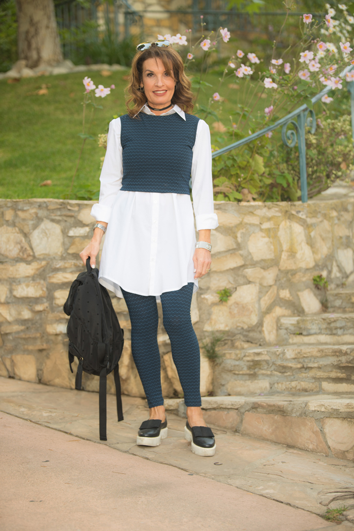 Top, leggings and blouse by Comrags   , Walter Steiger shoes    on sale and similar here   ,    See by Chloe backpack   , Robin Terman choker and earrings.