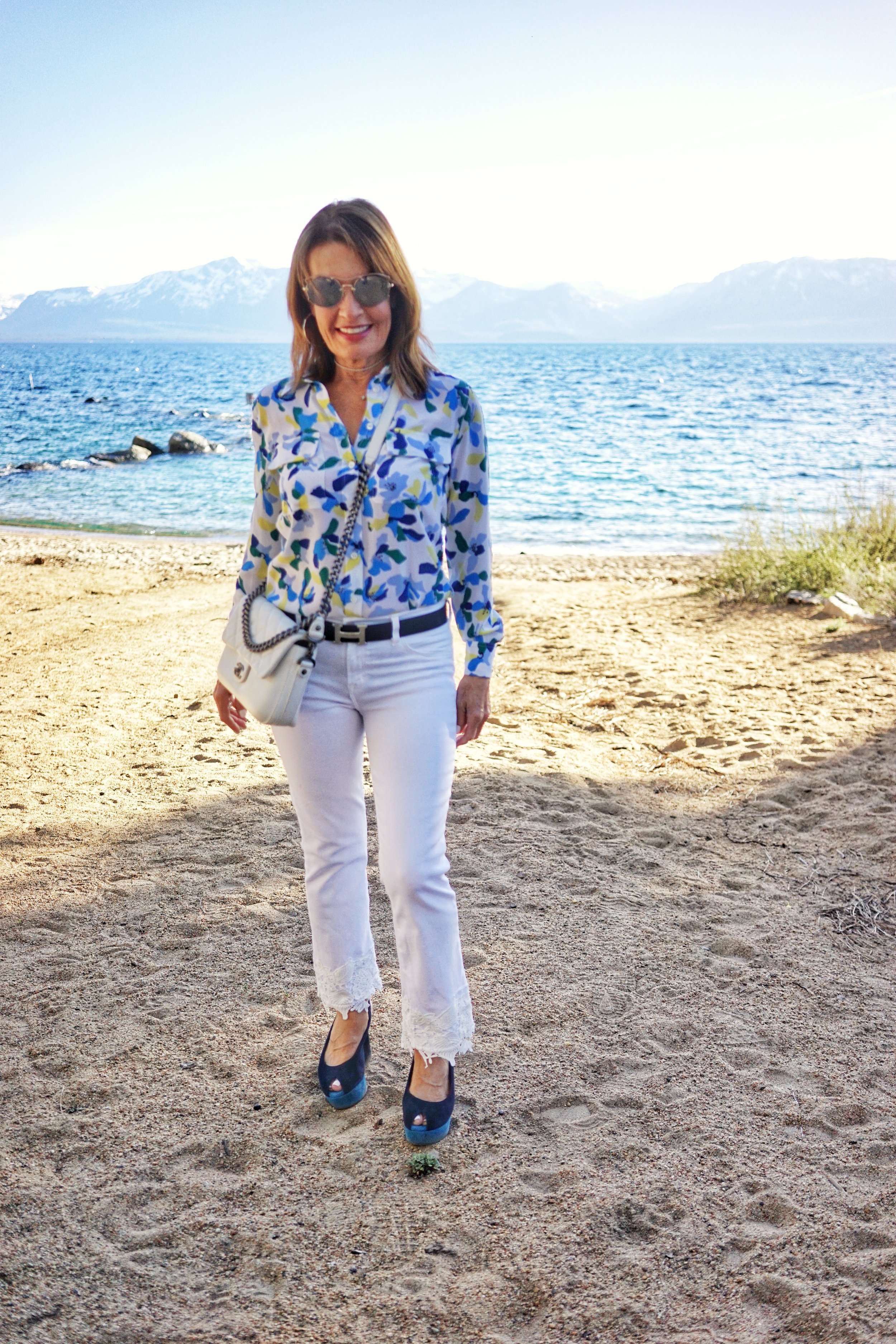 J Brand jeans   ,    Equipment blouse   ,    Robert Clergerie shoes   , Chanel handbag,    similar for less here    and    here   , Miu Miu shades, Hermes Belt,   John Hardy hoops   .
