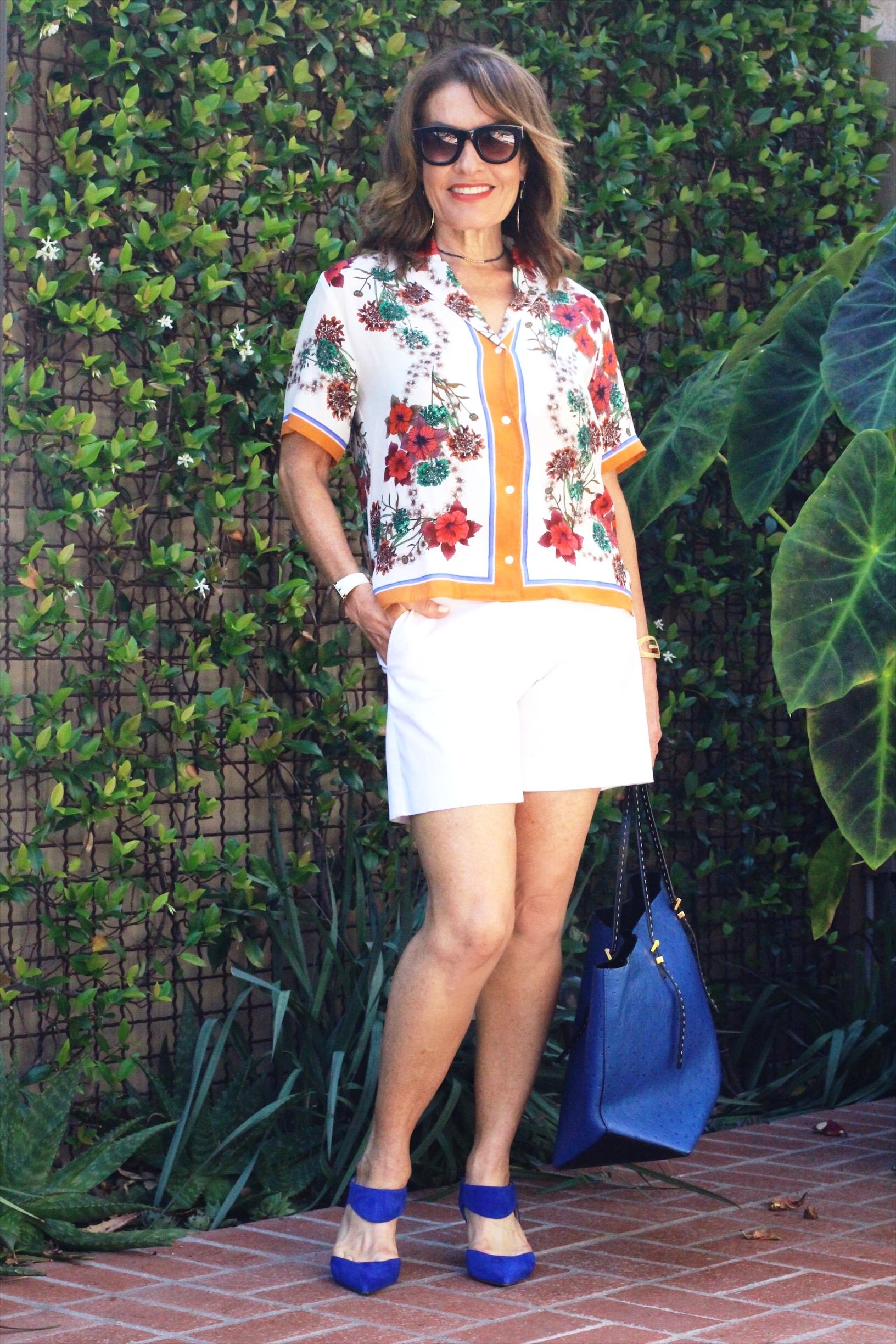 Sandro blouse on sale here   , Worth New York Shorts    similar and on sale here   ,  Nicholas Kirkwood shoes, Michael Kors tote, Tous watch, Under A Fig Tree bracelet, Elizabeth and James Earrings, Robin Terman choker, Celine sunnies.