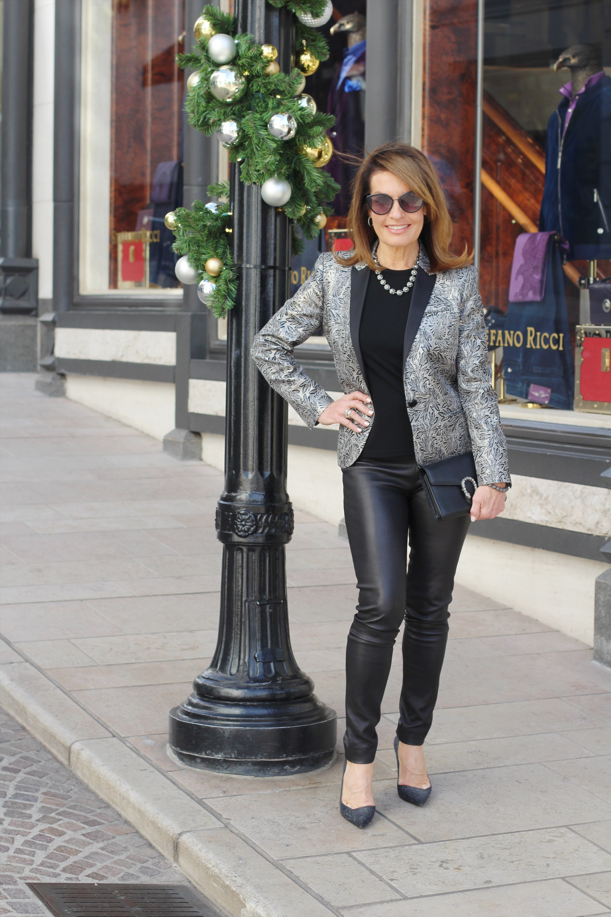 Barbara Bui jacket   ,    Worth New York top   , The Row leggings, Dior shoes,    Gucci clutch   , Cathy B Jewelry necklace, Chanel sunglasses