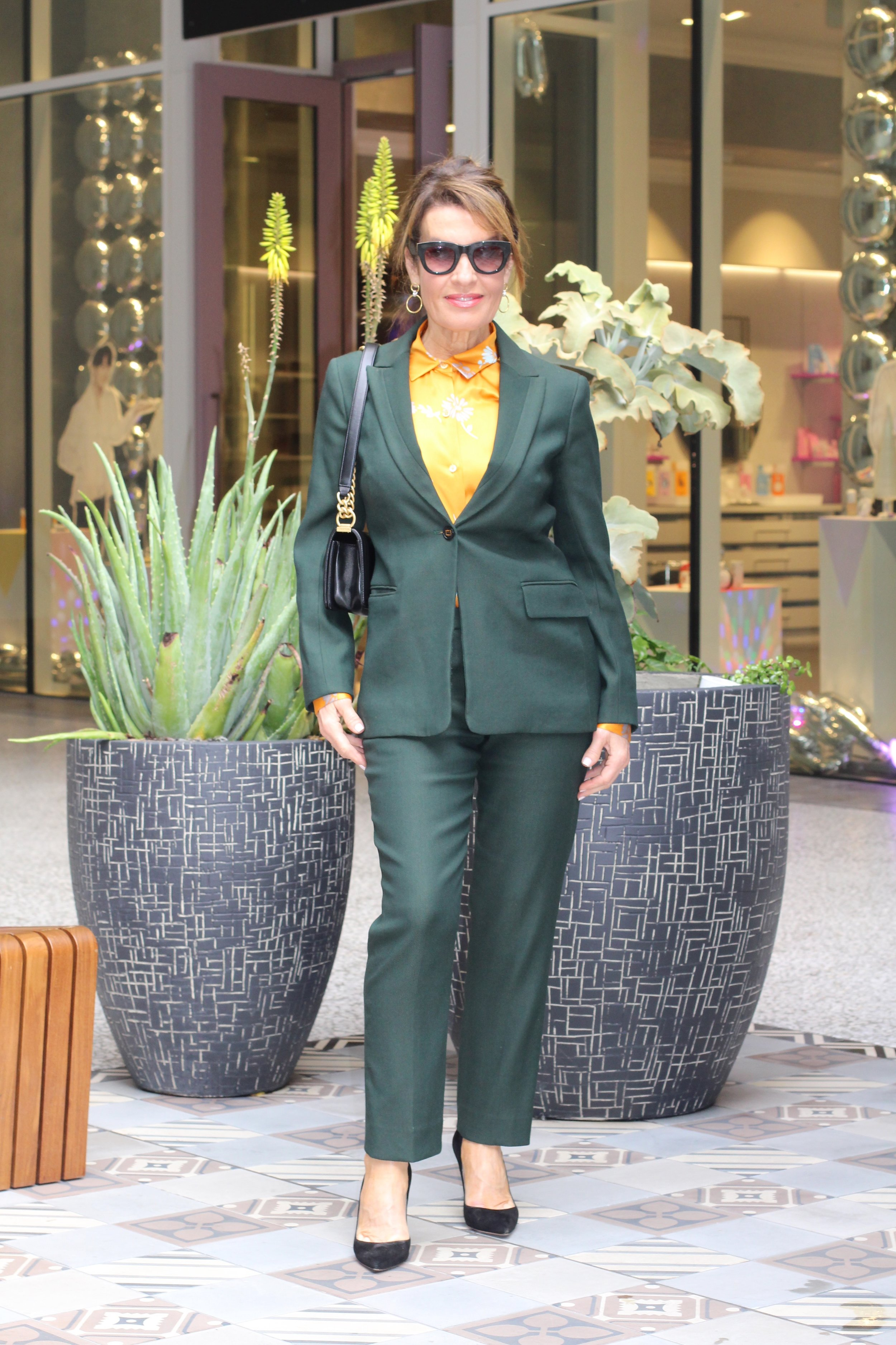 The Row jacket and pants,    Equipment blouse   , Gianvanito Rossi shoes, Chanel handbag    similar for less here   , Celine Sunglasses, Madewell earrings