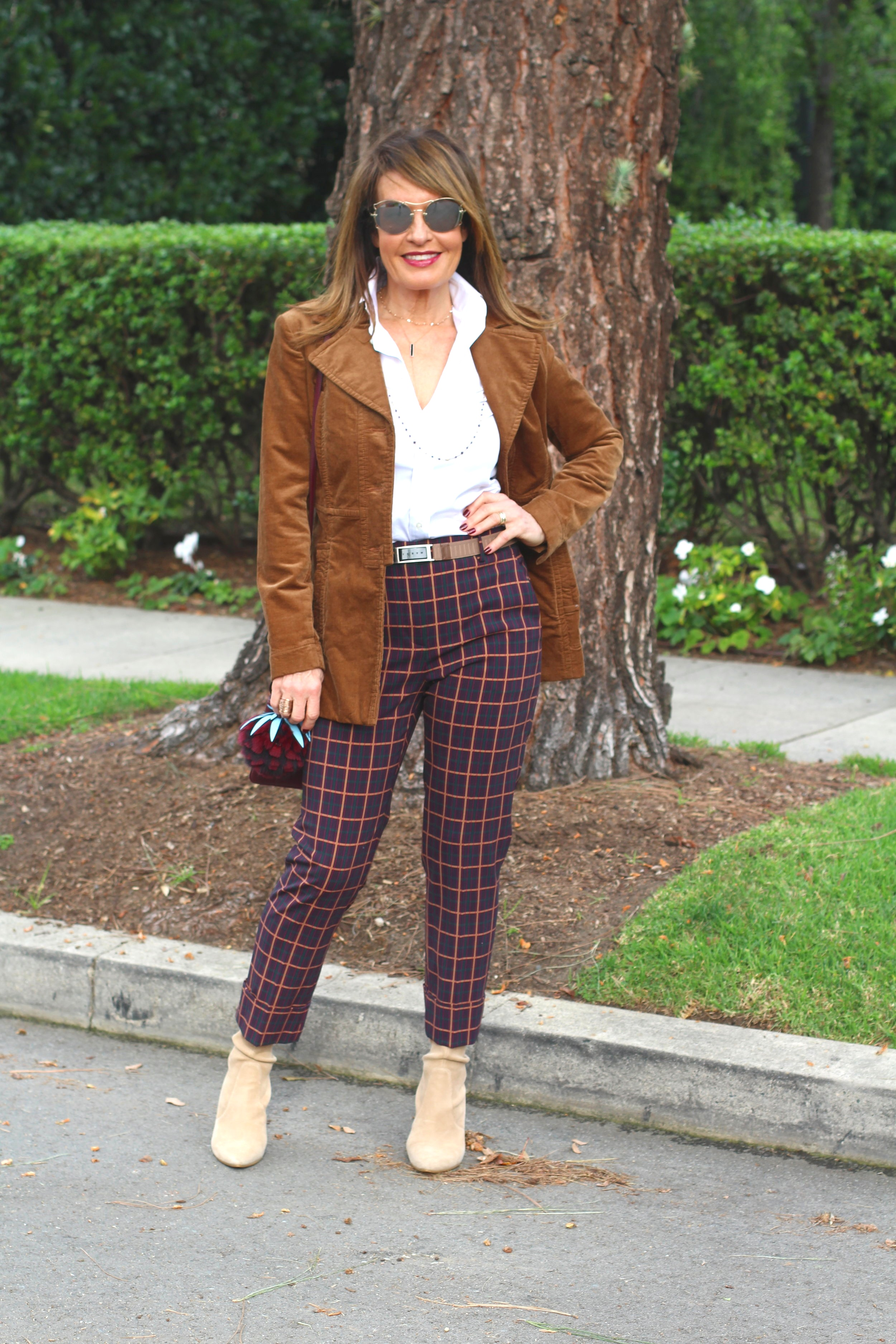 Theory pants   , Cabi jacket,    similar here    Ralph Lauren blouse    similar here   , Marni belt, Stuart Weitzman boots    similar here   ,  Fendi handbag and charm, Miu Miu sunglasses,    Robin Terman necklaces and bracelets   ,    Anne Sisteron choker.