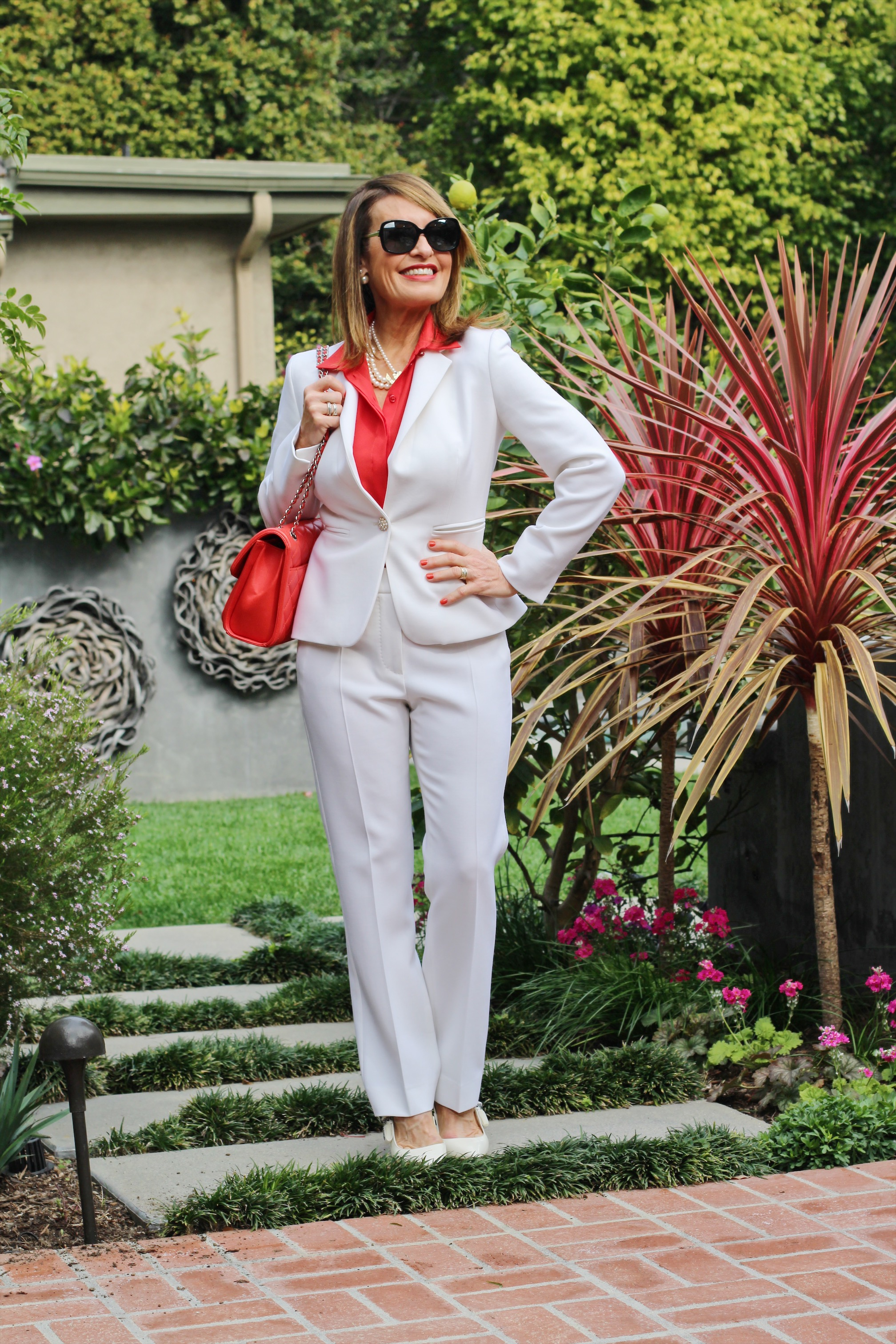 Max Mara    jacket    and    pants   ,    Armani Exchange blouse   , Maui Jim shades, Dior slingbacks, Chanel Handbag, Christian Dior tribal earrings, China Pearl pearl necklace.