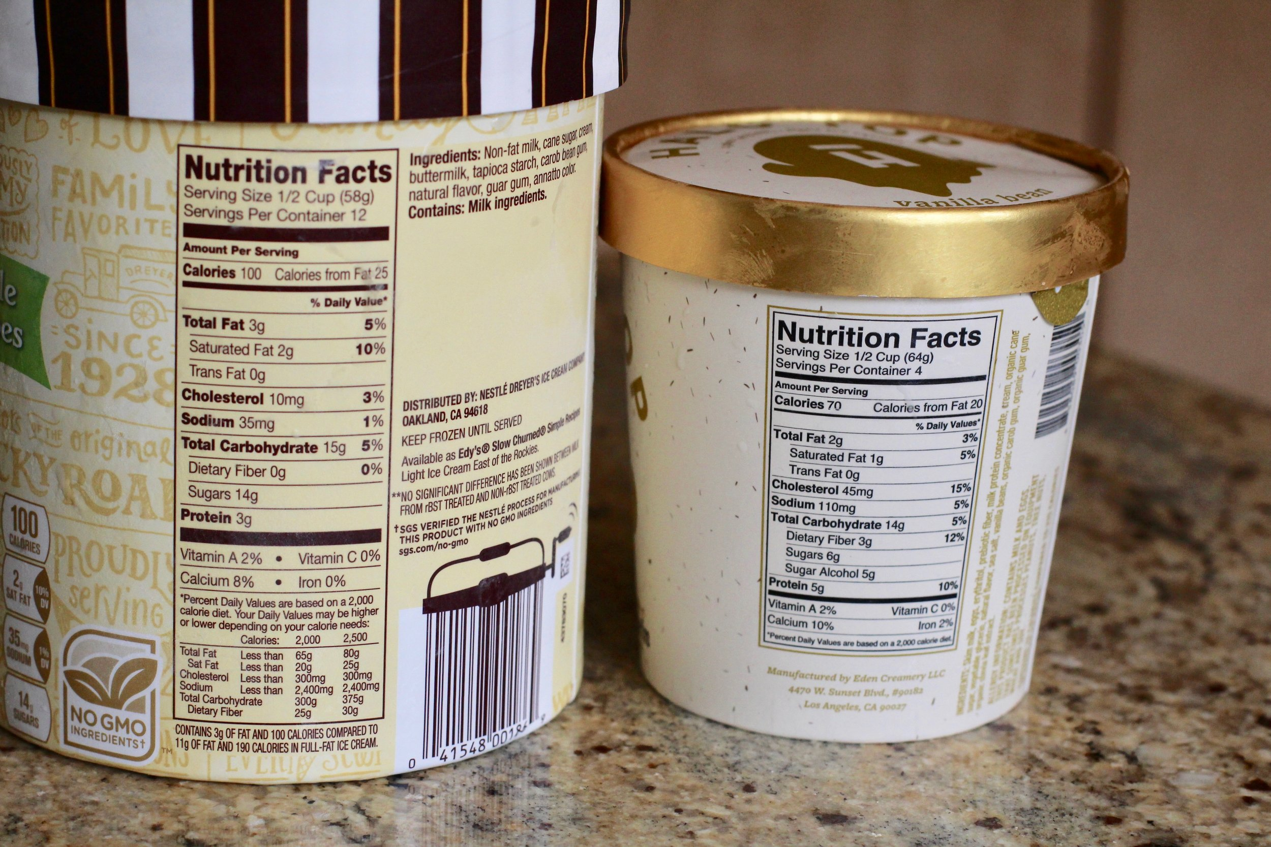 Here you can see that although there is a 30 calorie and 1 gm of fat difference per half cup, the numbers change when you compare the sugar content and the extra protein form the halo top.  the choice is yours!