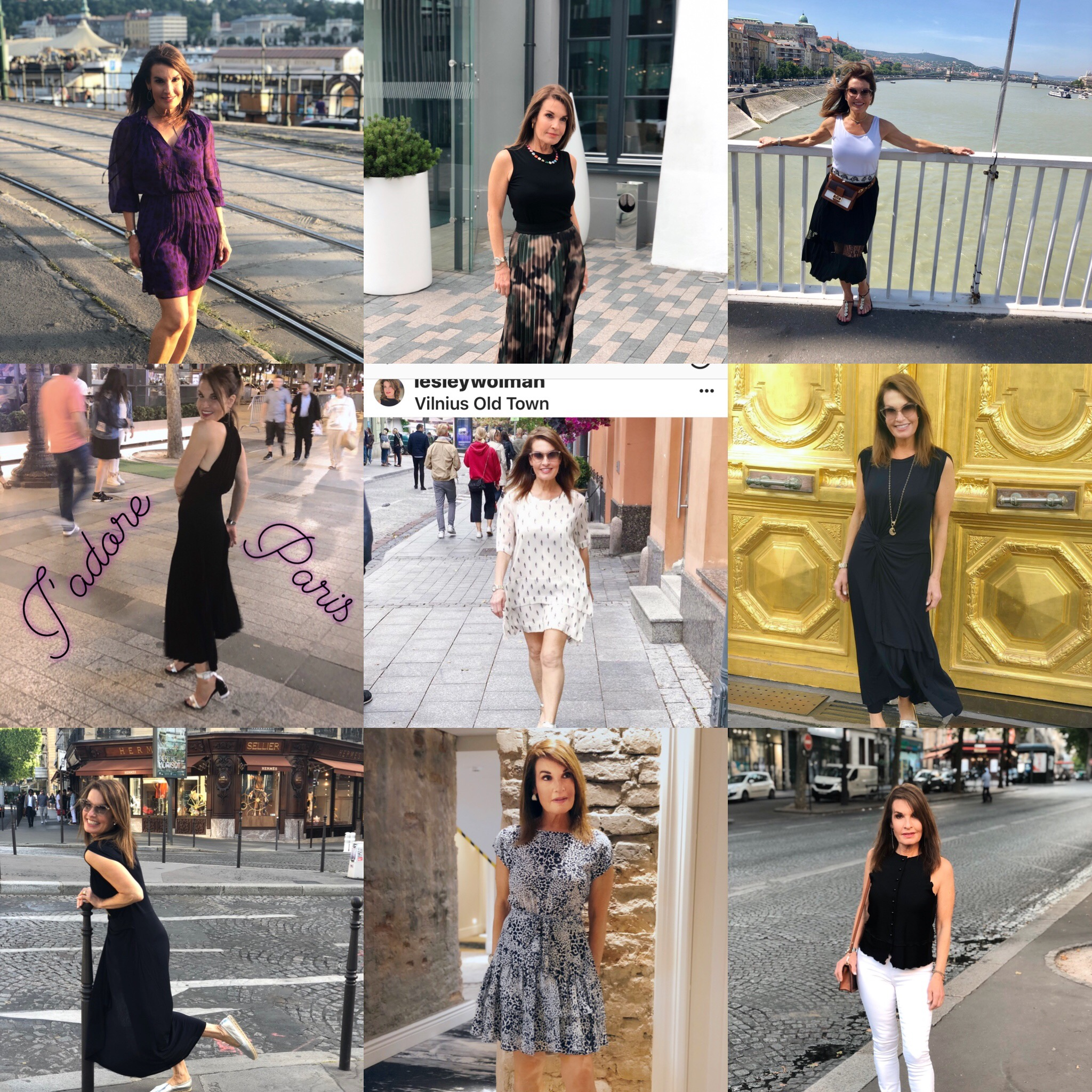 Here are 9 of the 18 looks that I packed and wore on our recent trip to Budapest, Vilnius and Paris
