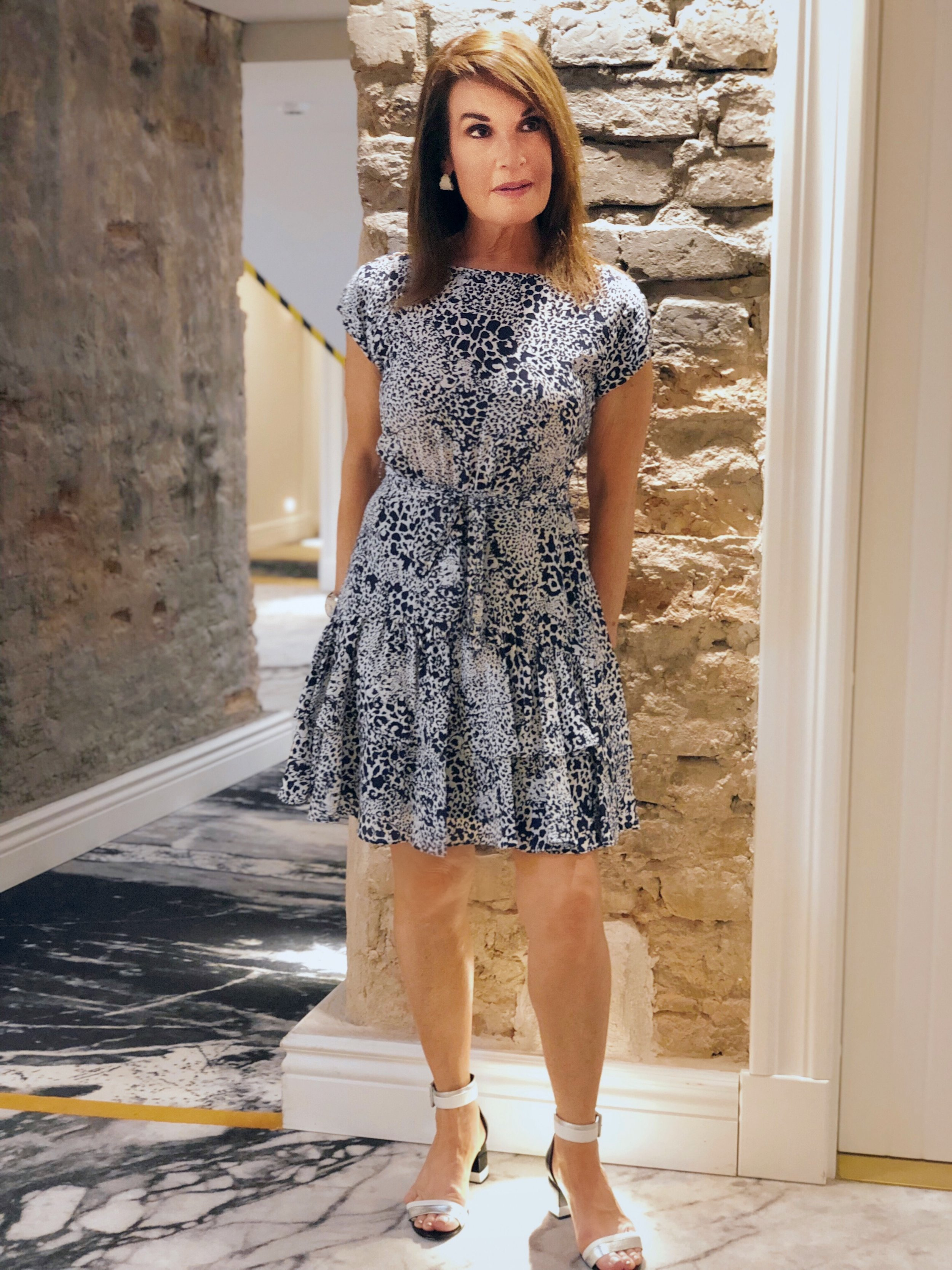 Ready for Shabbat in Vilnius. I am standing in front of the many fabulous interior walls of the    Hotel Pacai   .    Rebecca Taylor dress   , Pierre Hardy sandals