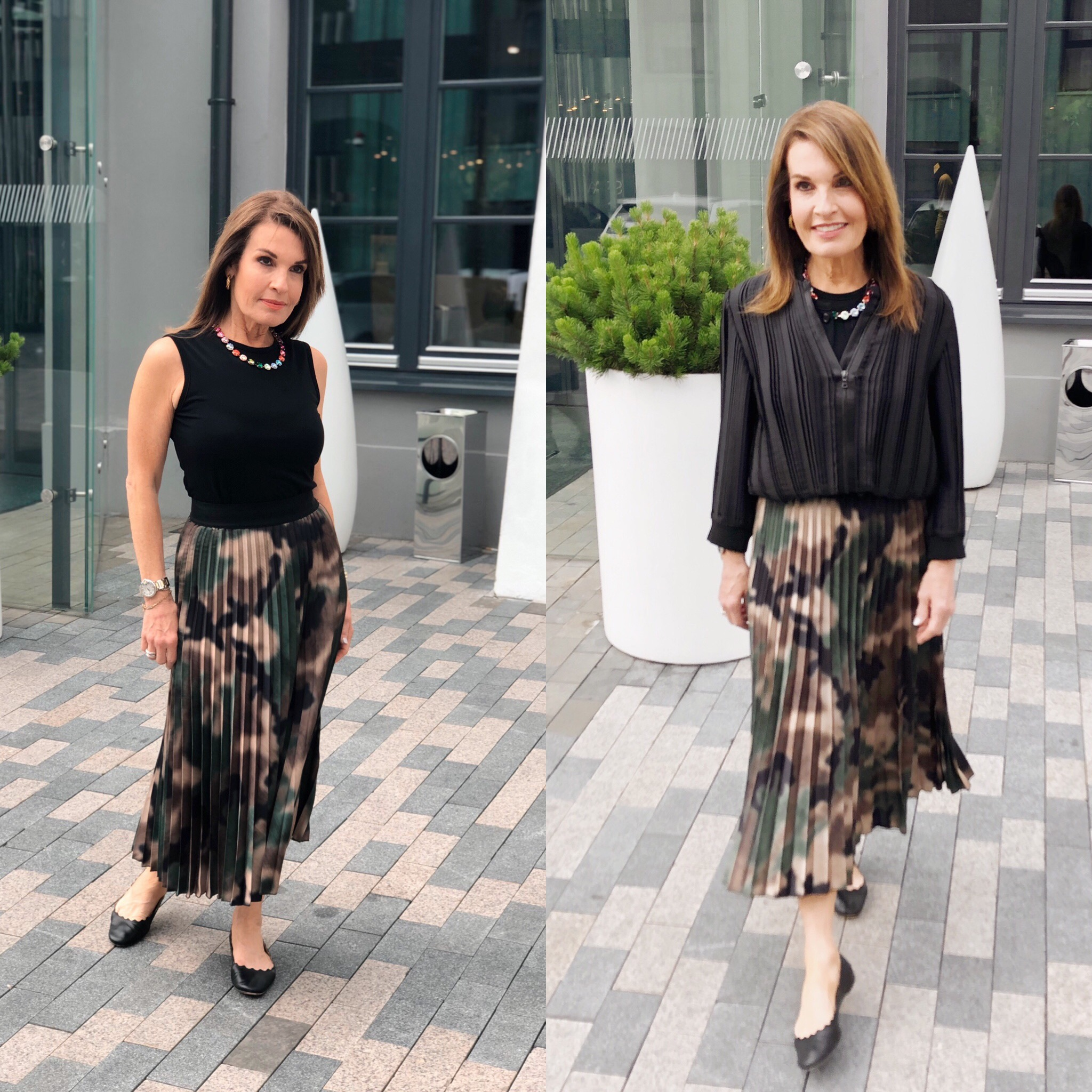 Another fabulous pleated skirt by    A World Curated,    Comrags top, Cathy Belzberg necklace, Victoria Beckham bomber jacket, Chloe flats( linked above)