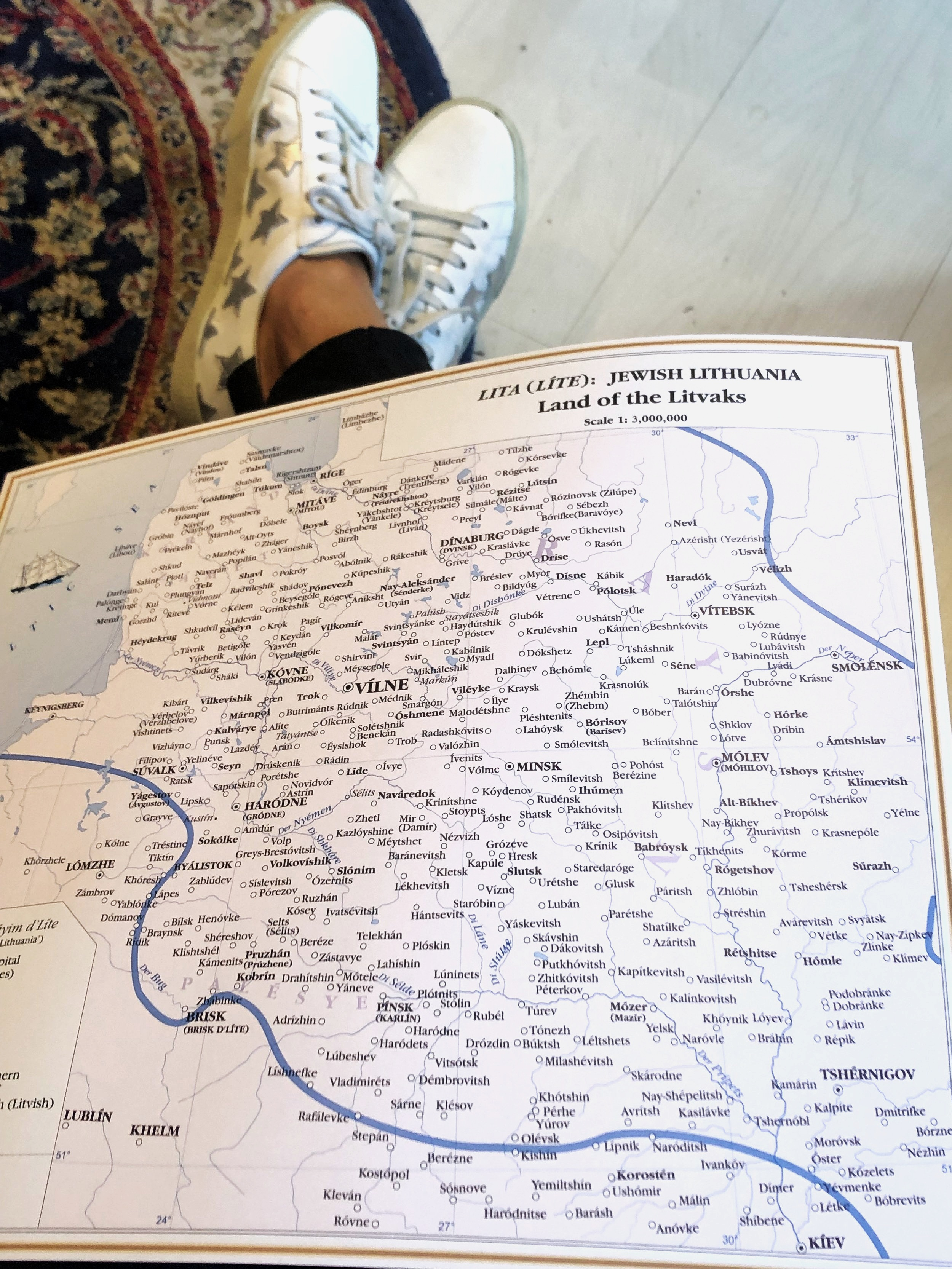 Here is another shot of those    fab sneakers    peeking out from under a map of Jewish Lithuania.  A staggering 70,000 Jews were murdered in the Paneraia Forest near Vilnius. Their bodies were dumped into 12 different pits and burned.